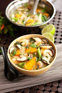 Asian prawn and Chantenay noodle soup