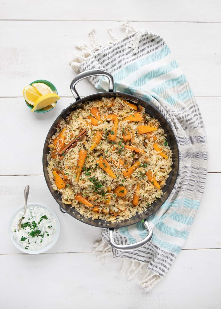 Chantenay carrot and almond pilaf