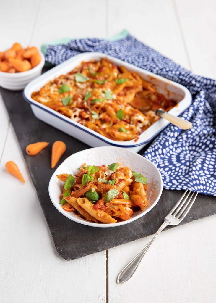 Chantenay carrot and tomato pasta bake