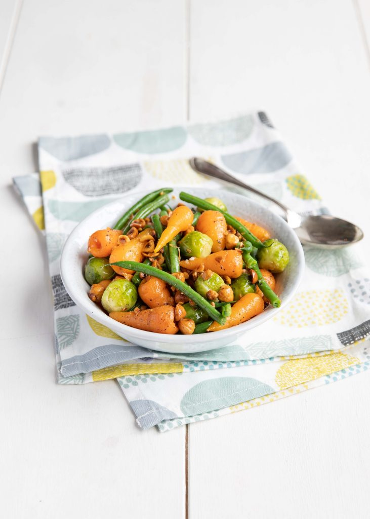 Chantenay Carrot, sprout and green beans with butter and hazelnuts